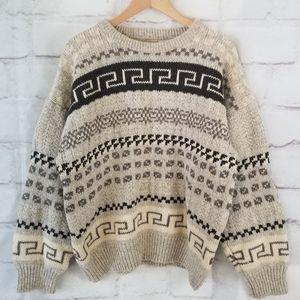 Vintage L Wool Nordic/Fair Isle Pullover Sweater